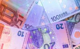 Ультрафиолетовый свет банкнот евро Стоковое Изображение