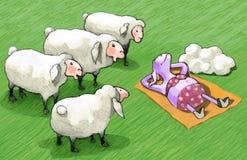 Ультрафиолетов овцы отличающиеся от другие иллюстрация штока
