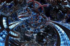 ультрафиолетов фракталь 3d будущего города Цивилизация развития в галактике стоковые фотографии rf