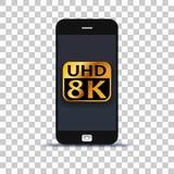 Ультра применение HD 8K на мобильном телефоне наклеенном на бумаге фото стоковое фото rf