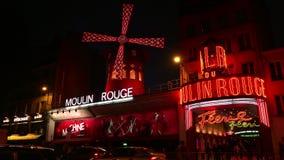 УЛЬТРА HD 4K, реальное время, сигналя; Румян Moulin к ноча, видеоматериал