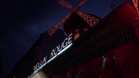 УЛЬТРА HD 4K, реальное время, сигналя; Румян Moulin к ноча, акции видеоматериалы