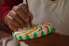 Умаслите ваять на виске Далай-ламы, McLeod Ganj, Индия Стоковые Фото