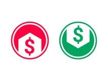 Уменшение себестоимоста растет значок доллара стрелки вектора иллюстрация штока