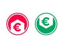 Уменшение себестоимоста растет значок стрелки евро вектора бесплатная иллюстрация
