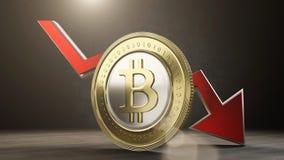 Уменшения значения Bitcoin 3d представляют иллюстрация штока