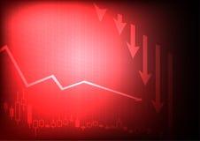 Уменьшая диаграмма дела на красной предпосылке Стоковое фото RF