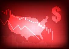 Уменьшая диаграмма дела с знаком доллара и США составляют карту Стоковые Изображения