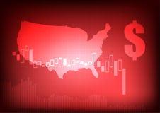 Уменьшая диаграмма дела с знаком доллара и США составляют карту Стоковая Фотография
