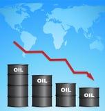 Уменьшая цена масла с предпосылкой карты мира, концепцией цены на нефть Стоковая Фотография