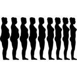 Уменьшение силуэтов девушек Стоковое фото RF