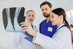 Умелые доктора анализируя фото рентгеновского снимка Стоковое Фото