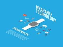 Умная иллюстрация концепции вахты Smartwatch и Стоковое Изображение