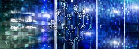 Умная концепция сервера Интернет IOT вещей Техника связи данным по ICT Диаграммы со значками на сервере иллюстрация штока