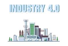 Умная концепция фабрики Промышленный интернет вещей Сеть датчика Современный цифровой вектор фабрики Стоковое Изображение RF