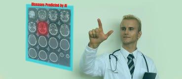 Умная медицинская концепция технологии, доктор использует виртуальное смешанный с увеличенной реальностью для того чтобы показать стоковое фото