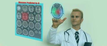 Умная медицинская концепция технологии, доктор использует виртуальное смешанный с увеличенной реальностью для того чтобы показать стоковая фотография rf