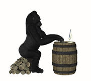 Умная обезьяна гориллы используя иллюстрацию компьютера Стоковые Изображения RF