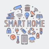Умная домашняя круглая иллюстрация, творческий символ технологии или шаблон веб-дизайна Стоковое Изображение RF