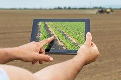 Умное земледелие Фермер используя засаживать сои таблетки Современное Agri стоковое изображение rf