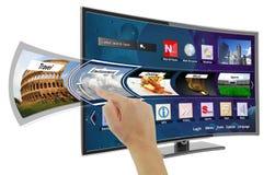 Умное ТВ с apps стоковое изображение