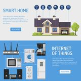 Умные дом и интернет знамен вещей Стоковое фото RF