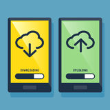 Умные загрузка телефона и значок загружать Стоковые Изображения