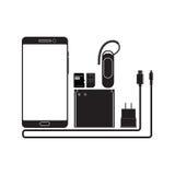 Умные телефоны и приборы иллюстрация вектора