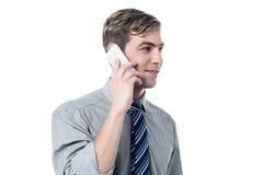 Умный бизнесмен говоря в его мобильном телефоне стоковое фото rf