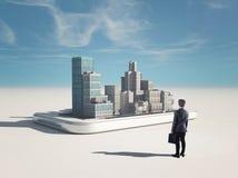 Умный городской пейзаж телефона иллюстрация вектора
