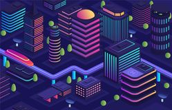 Умный город в футуристическом стиле, город будущего Деловый центр, расквартировывая городские здания с небоскребами иллюстрация вектора
