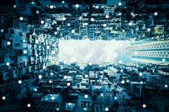 Умный город и беспроволочная коммуникационная сеть, абстрактный visual изображения стоковые изображения
