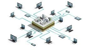 Умный город, строя соединяться соединяет систему сервера Интернет технологии вещей, взгляда размера 3D бесплатная иллюстрация