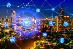 Умный город и беспроволочная коммуникационная сеть, финансовый район стоковые изображения rf