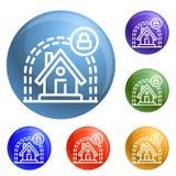 Умный дом защищает вектор значков установленный иллюстрация штока