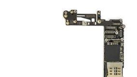 Умный изолят монтажной платы телефона на белизне Стоковая Фотография RF