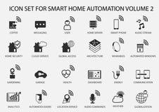 Умный комплект значка домашней автоматизации в плоском дизайне Стоковое Фото