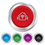 Умный домашний значок знака. Умная кнопка дома. Стоковые Фотографии RF