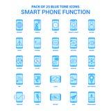 Умный телефон действует голубой пакет значка тона - 25 наборов значка иллюстрация вектора