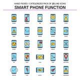 Умный телефон действует плоская линия набор значка - значок концепции дела иллюстрация вектора