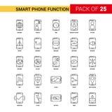 Умный телефон действует черная линия значок - значок плана 25 дел иллюстрация вектора