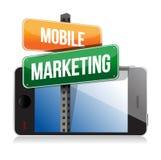 Умный телефон с передвижным знаком маркетинга иллюстрация вектора