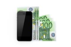 Умный телефон и 100 банкнот Стоковое Изображение RF