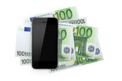 Умный телефон и 100 банкнот Стоковые Изображения