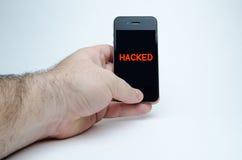 Умный телефон прорубленный в руке Стоковая Фотография RF