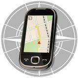 Умный телефон составляет карту навигация Стоковое Изображение RF