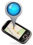 Умный телефон составляет карту навигация Стоковое Изображение