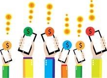 Умный телефон сохраняет деньги Стоковые Фотографии RF