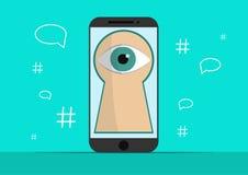 Умный телефон с изображением глаза Предпосылка с простой линией значками стиля Концепция безопасности и защита  Стоковые Изображения RF