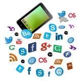Умный телефон с социальными кнопками средств массовой информации Стоковое Изображение